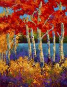 Fall Leaves Posters - Red Birches Poster by Marion Rose