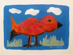 Simplicity Drawings Metal Prints - Red Bird in Grass Metal Print by John  Williams