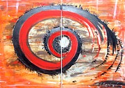 Handmade Drawings - Red-black Swirl by Katarina Benova