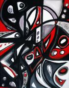 Organic Forms Paintings - Red Black White by Emily Osborne