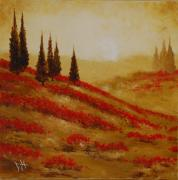 Pallet Knife Painting Prints - Red Blooms at Dawn Print by Debra Houston
