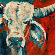 Summer Celeste Painting Prints - Red-Blue Braham Bull Print by Summer Celeste