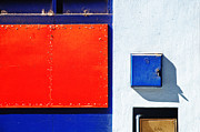 Rectangles Photos - Red blue white shapes by Silvia Ganora