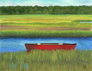 Swamp Pastels Posters - Red Boat - Assateague Channel Poster by Arlene Crafton