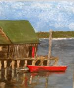 Red Boat Print by Bernice Camenisch
