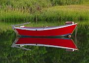 Dingy Framed Prints - Red Boat Framed Print by Juergen Roth