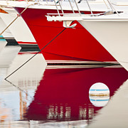 Docked Boat Framed Prints - Red Boat Reflection Framed Print by Brian Bonham