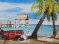 Florida Waterscape Originals - Red Boat by Terry Arroyo Mulrooney