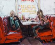 Women Painting Originals - Red Booth by Claire Kayser