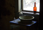 Photography Of Liquor Posters - Red Bottle Night Stand Poster by Lorraine Devon Wilke