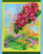 Bahamas Landscape Paintings - Red Bougainvillea by Florence Bramley Hill