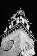 Old Krakow Framed Prints - red brick Wawel cathedral clock tower at the entrance to Wawel Castle Krakow Framed Print by Joe Fox
