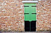 Interesting Architecture Posters - Red Bricks, Green Door Poster by Ray Laskowitz