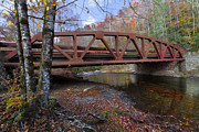 Fall River Scenes Prints - Red Bridge Print by Debra and Dave Vanderlaan