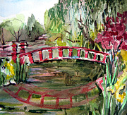 Willow Lake Drawings Posters - Red Bridge Poster by Mindy Newman