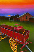 Barn Pastels Prints - Red Buckboard Wagon Print by Stephen Anderson