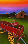 Red Buckboard Wagon Print by Stephen Anderson