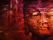 Budhism Prints - Red Buddha Print by Claudia Moeckel