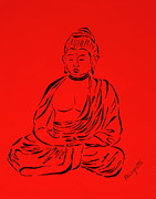 Religious Drawings Prints - Red Buddha Print by Pamela Allegretto