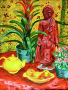 Teapot Paintings - Red Buddha Still-life  by Linda J Bean