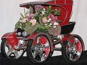Home Decor Posters Mixed Media Posters - Red Buggy Floral Piece Poster by HollyWood Creation By linda zanini