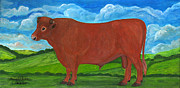 Folkartanna Paintings - Red Bull by Anna Folkartanna Maciejewska-Dyba