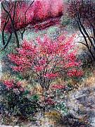 Valerie Meotti Art - Red Bush by Valerie Meotti