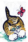 Pictures Of Cats Prints - Red Butterfly Print by Ellen Miffitt