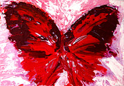 Girly Prints - Red Butterfly Print by Patricia Awapara