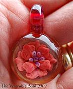 Boro Jewelry - Red Cabbage Rose by Paula McDonough