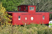 Caboose Framed Prints - Red Caboose in the Woods Framed Print by Eileen Szydlowski