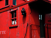 Train Car Framed Prints - Red Caboose Framed Print by Scott Hovind