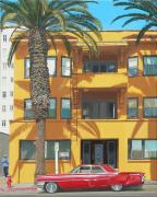 Caddy Paintings - Red Caddy Apartments by Michael Ward