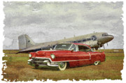 Steven Agius Digital Art Framed Prints - Red Cadillac Framed Print by Steven Agius