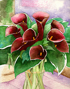 Red Bouquet Paintings - Red calla lilies by Eunice Olson