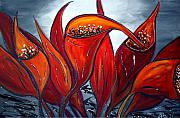 Textured Floral Painting Framed Prints - Red Calla Lilies  Framed Print by Luiza Vizoli
