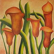 Calla Lilly Posters - Red Callas Poster by Jeanie Watson