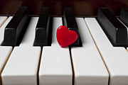 Pianos Prints - Red candy heart  Print by Garry Gay
