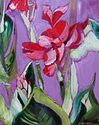 Canna Painting Posters - Red Canna Lily Poster by Suzanne Willis