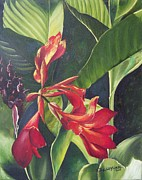 Canna Painting Framed Prints - Red Cannas Framed Print by Deleas Kilgore