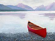 Glacier National Park Paintings - Red Canoe by Dillard Adams