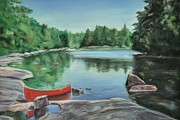 Canoe Pastels Prints - Red Canoe Print by Heather Kertzer