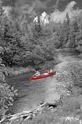 Forest Photographs Posters - Red canoe Poster by Jim Wright