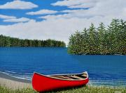 Canoes Paintings - Red Canoe by Kenneth M  Kirsch