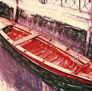 Canoe Mixed Media Prints - Red Canoe Print by Linda Scharck