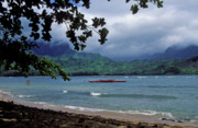 Kauai Prints Prints - Red Canoe on Hanalei Bay Print by Kathy Yates
