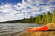 Canoe Photo Prints - Red canoe on lake shore Print by Elena Elisseeva