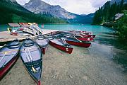 British Columbia Posters - Red Canoes at a Dock Emerald Lake Poster by George Oze