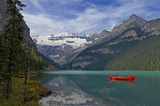Lake Louise Posters - Red Canoes on Lake Louise #2 Poster by Teresa Zieba