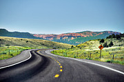 Road Sign Prints - Red Canyon Seen From Highway Print by Utah-based Photographer Ryan Houston